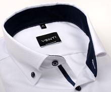 Koszula Venti Modern Fit – biała z delikatną strukturą i ciemnoniebieską stójką wewnętrzną - extra długi rękaw