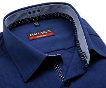 Koszula Marvelis Body Fit – niebieska w siateczkę z wewnętrzną stójką - extra długi rękaw