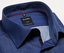 Koszula Olymp Modern Fit – stałowoniebieska z wzorem, wewnętrzną stójką, mankietem i plisą