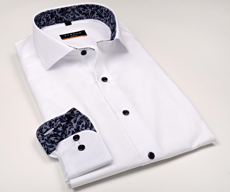 Biała koszula Eterna Slim Fit z czarnym nadrukowanym wzorem