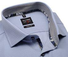 Koszula Olymp Level Five – jasnoniebieska z tkanym wzorem i szarym kołnierzykiem wewnętrznym