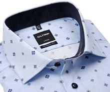 Koszula Olymp Modern Fit – jasnoniebieska z siateczką, ciemnoniebeskimi ornamentami i wewnętrzną stójką