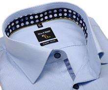 Koszula Olymp Super Slim – jasnoniebieska z wyszytym wzorem i wewnętrzną stójką - extra długi rękaw