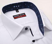 Koszula Marvelis Body Fit – biała z delikatną strukturą i ciemnoniebieską wewnętrzną stójką