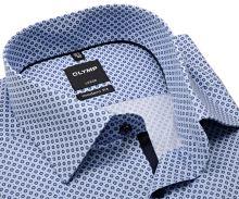Koszula Olymp Modern Fit – jasnoniebieska z ciemnoniebieskim wzorem i wewnętrzną plisą - krótki rękaw