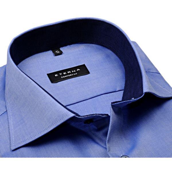 Luksusowa niebieska koszula Eterna ze strukturą długi rękaw  XZTCu