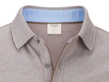 Koszulka polo body fit Olymp Level Five z kołnierzykiem – szaro-brązowa w białą siateczkę