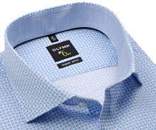 Koszula Olymp Super Slim – w jasnoniebieskie trójkąty i z wewnętrzną stójką - extra długi rękaw