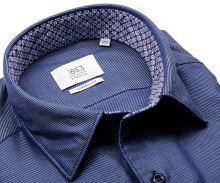 Koszula Eterna Comfort Fit 1863 Super Soft - luksusowa ciemnoniebieska z ukośnym wzorem i wewnętrzną stójką