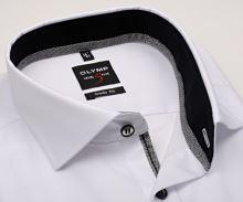 Koszula Olymp Level Five – biała z czarną wewnętrzną stójką i mankietem