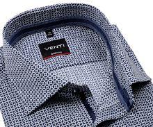 Koszula Venti Body Fit – z ciemnoniebieskim wzorem, wewnętrzną stójką i mankietem