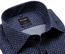 Koszula Olymp Modern Fit – ciemnoniebieska w białe kropki i delikatną siateczkę - extra długi rękaw