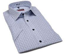 Koszula Marvelis Body Fit – z niebieskim wzorem - krótki rękaw