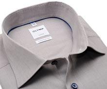 Koszula Olymp Comfort Fit – beżowa z delikatną strukturą i wewnętrznym mankietem