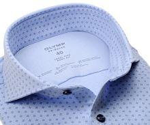 Koszula Olymp Level Five 24/Seven – jasnoniebieska luksusowa elastyczna z niebieskim wzorem - extra długi rękaw