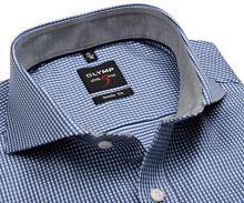 Koszula Olymp Level Five – z wyszytym niebieskim wzorem i szarą wewnętrzną stójką i mankietem