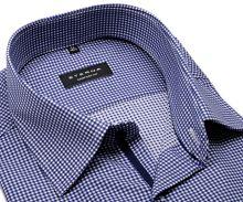 Koszula Eterna Comfort Fit Twill – w ciomnoniebieską kratkę z wewnętrzną plisą - extra długi rękaw