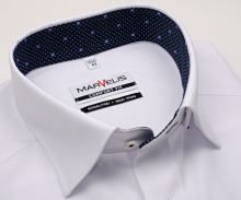 Koszula Marvelis Comfort Fit – biała z wyszytym wzorem i ciemnoniebieską wewnętrzną stójką - krótki rękaw