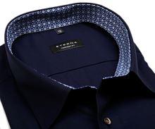 Koszula Eterna Comfort Fit – ciemnoniebieska z wewnętrzną stójką i mankietem - extra długi rękaw