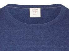 Sweter Olymp Level Five z wełny merino z domieszką jedwabiu - niebieski - okrągły dekolt