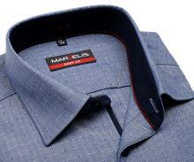 Marvelis Body Fit – niebieska koszula w jodełkę z wyszytym wzorom i wewnętrzną stójką