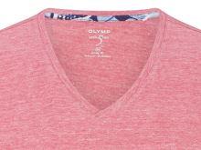 Czerwono-różowy lniany t-shirt Olymp Level Five z krótkim rękawem - dekolt V