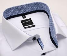Koszula Olymp Luxor Modern Fit – biała z niebiesko-bialą wewnętrzną stójką - krótki rękaw