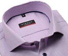 Koszula Eterna Modern Fit – luksusowa z róźowo-niebieskim geometrycznym wzorem - super długi rękaw