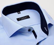 Koszula Eterna Comfort Fit Twill Cover - luksusowa nieprześwitująca jasnoniebieska z granatową stójką wewnętrzną