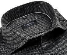 Koszula Eterna Comfort Fit - luksusowa czarna z wyszytym szarym wzorem