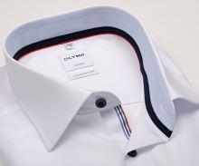 Koszula Olymp Luxor Comfort Fit – biała z jasnoniebieską wewnętrzną stójką - krótki rękaw