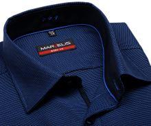 Koszula Marvelis Body Fit - niebieska z delikatną strukturą - krótki rękaw