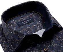 Koszula Casa Moda Modern Fit Premium – ciemnoniebieska w brązowo-niebieski wzór paisley z podwójnym kołnierzem