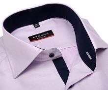 Koszula Eterna Modern Fit – różowo-fioletowa z granatowym kołnierzykiem wewnętrznym - super długi rękaw