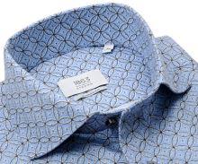 Koszula Eterna 1863 Modern Fit Two Ply NEVER IRON - luksusowa jasnoniebieska z okrągłym wzorem