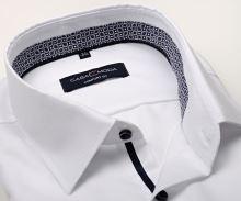 Koszula Casa Moda Comfort Fit Premium – biała z delikatną strukturą i niebiesko-fioletową stójką wewnętrzną