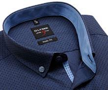 Koszula Olymp Level Five – stalowo niebieska w kropki z jasnoniebieską stójką wewnętrzną