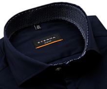 Koszula Eterna Slim Fit Super Stretch – ciemnoniebieska ze stójką wewnętrzną i mankietem