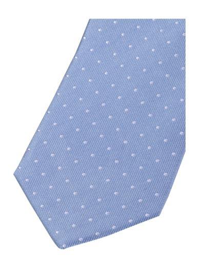 Krawat slim Olymp – jasnoniebieski z tkanymi białymi kropeczkami