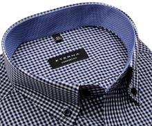 Koszula Eterna Comfort Fit – w ciemnoniebieską kratkę z wewnętrznym kołnierzykiem - krótki rękaw