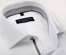 Koszula Casa Moda Modern Fit – biała z delikatną strukturą, stójką wewnętrzną, mankietem i plisą