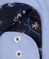 Koszula Marvelis Modern Fit – jasnoniebieska z diagonalnym wzorem, wewnętrzną stójką i mankietem