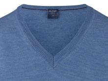 Sweter Olymp z wełny Merino - dekolt V - w kolorze jasnoniebieskim
