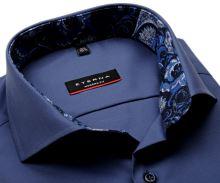 Koszula Eterna Modern Fit - stałowo niebieska z niebiesko-bialą wewnętrzną stójką i mankietem
