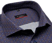 Koszula Eterna Modern Fit - designerska niebiesko-brązowa z nadrukowanym wzorem - extra długi rękaw