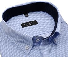 Koszula Eterna Comfort Fit Twill – w jasnoniebieską kratkę z wewnętrzną stójką i mankietem