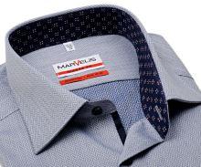 Koszula Marvelis Modern Fit – niebieska z białym wzorom i wewnętrzną stójką - extra długi rękaw