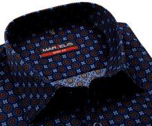 Koszula Marvelis Body Fit – ciemnoniebieska z pomarańczowo-niebieskim wzorem - extra długi rękaw