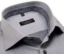 Koszula Eterna Comfort Fit Lotus Shirt - szara luksusowa z wewnętrzną stójką - extra długi rękaw