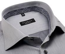 Koszula Eterna Comfort Fit Lotus Shirt - szara luksusowa z wewnętrzną stójką - krótki rękaw